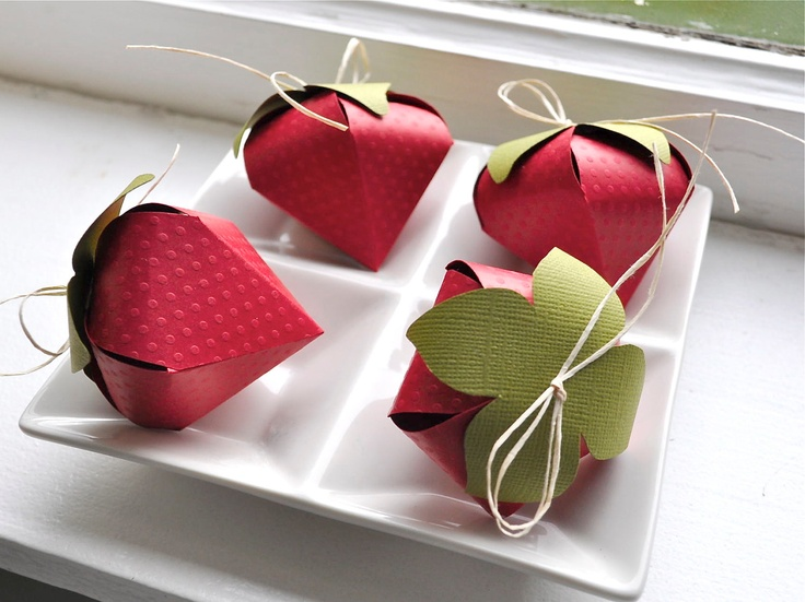 Strawberry shaped favor boxes (4). $10.00, via Etsy.