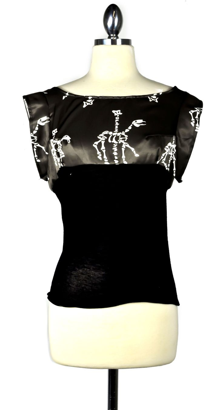 Skeletal horse carousel printed top with short sleeves and knit contrast fabric, by Fiction Clothing.  (Carousel Horse Triad of Bones fabric by artist Tara Crowley.) #womens #fashion #shirt #top #modern