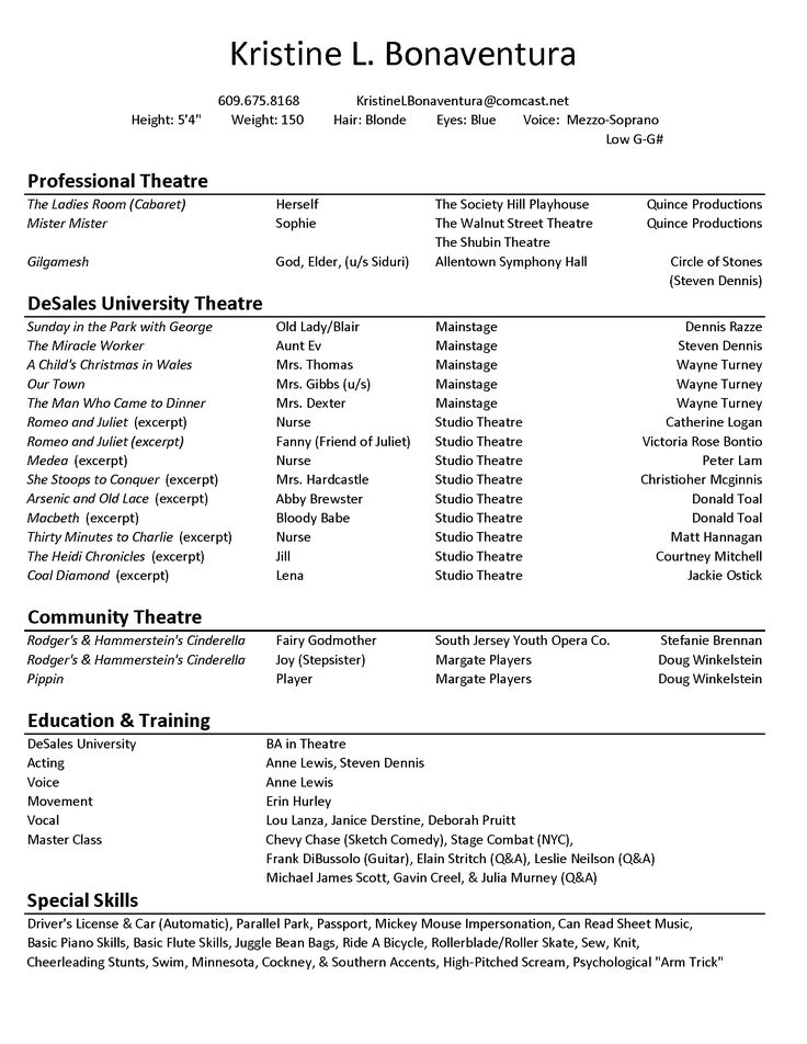 theatrical resume format - Resume Maker Template