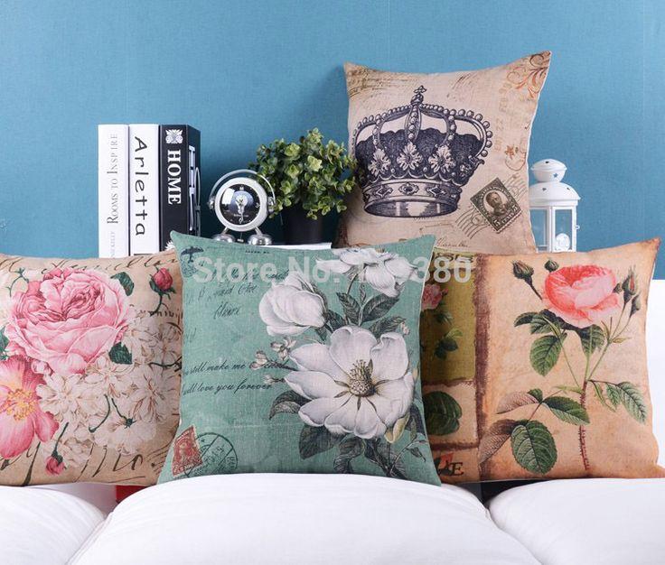 """4 pçs/set 18 """" britânico Retro flor de algodão de linho capa de almofada Ikea sofá jogar travesseiro de decoração almofadas de cadeira de carro alishoppbrasil"""