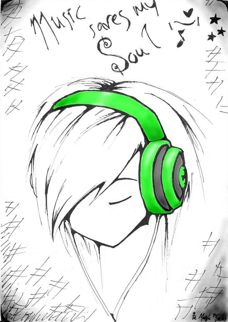easy anime drawings | Music saves my Soul - Colour by ~Agerlin on deviantART