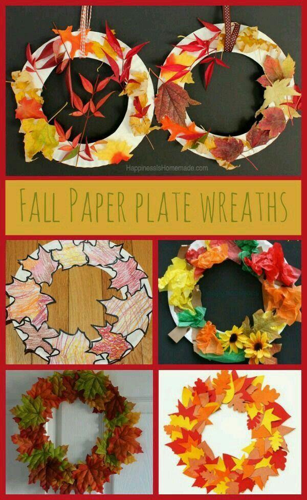 Fall Leaf Wreath Fall Crafts For Kids Fall Crafts Autumn
