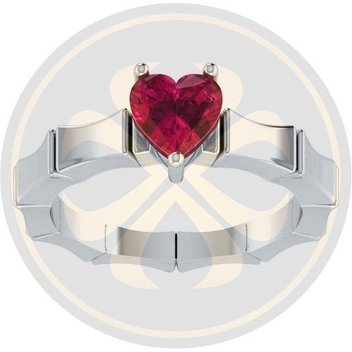 1.00 CT Heart Cut Red Garnet  White Gold Filled Engagement Silver Solitaire Ring #parasexports #SolitaireRing