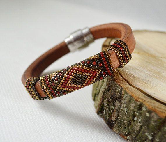 Brown Men's braided bracelet strap bracelet for men Red black bracelet men's leather bracelet gift for him male model Boy Male jewelry gift by SzkatulkaAmiJewelry