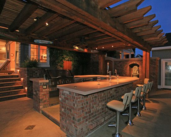 Patio outdoor bar design pictures remodel decor and for Rustic outdoor bar ideas