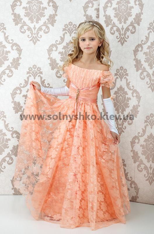 Платье вязаное с шифоновыми цветами Этюд Франсез, персиковое