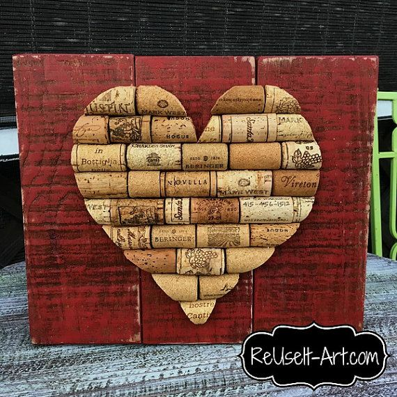 """Stained Wood Pallet Sign, Wine Cork Heart,  Rustic Pallet Art  approx 10"""" x 12"""""""