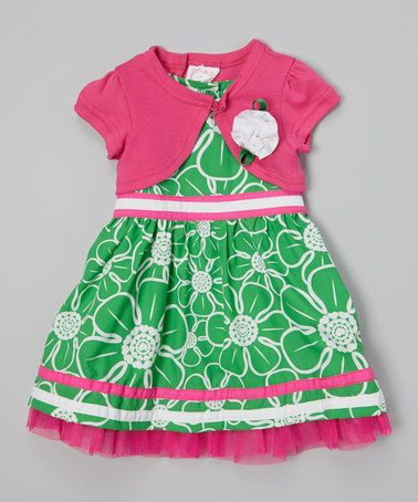This Emerald Daisy Dress & Pink Shrug - Toddler & Girls is perfect! #zulilyfinds