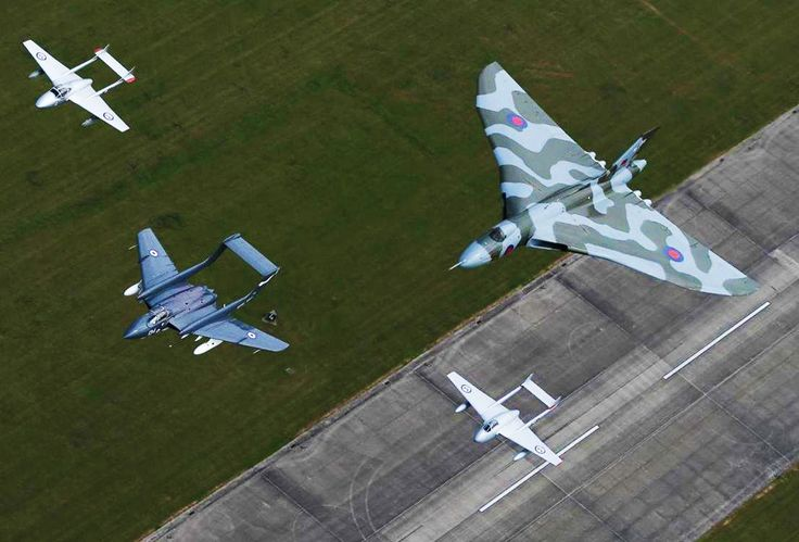 Avro Vulcan with the last flying Sea Vixen, accompanied by two Vampires