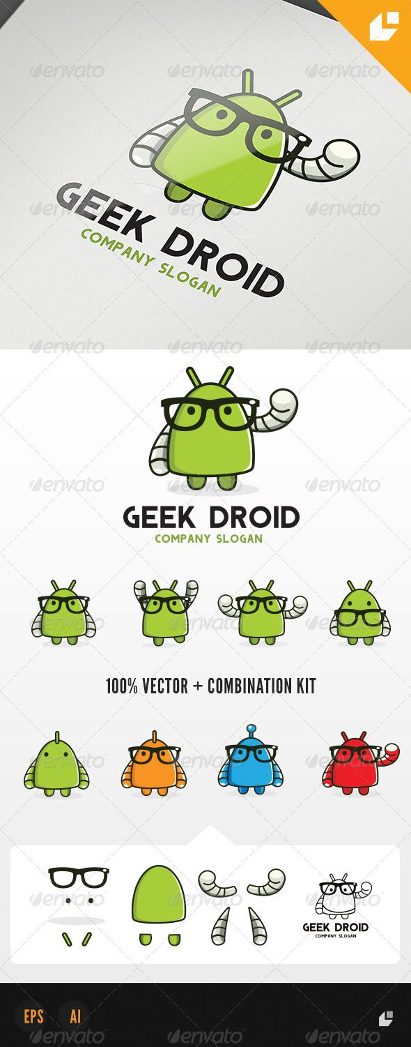 #GraphicRiver        Geek Droid – Logo Template   This logo design for creative company.  Logo Template Features   AI and EPS 300PPI  CMYK  100% Sc…