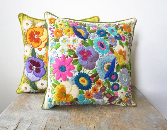 vintage crewel embroidery pillow / bright floral