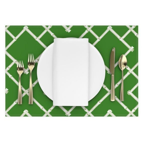 Trellis Placemats (Set of 2) – Osaka Bamboo Trellis In Green by willowlanetextiles – Chinoiserie As