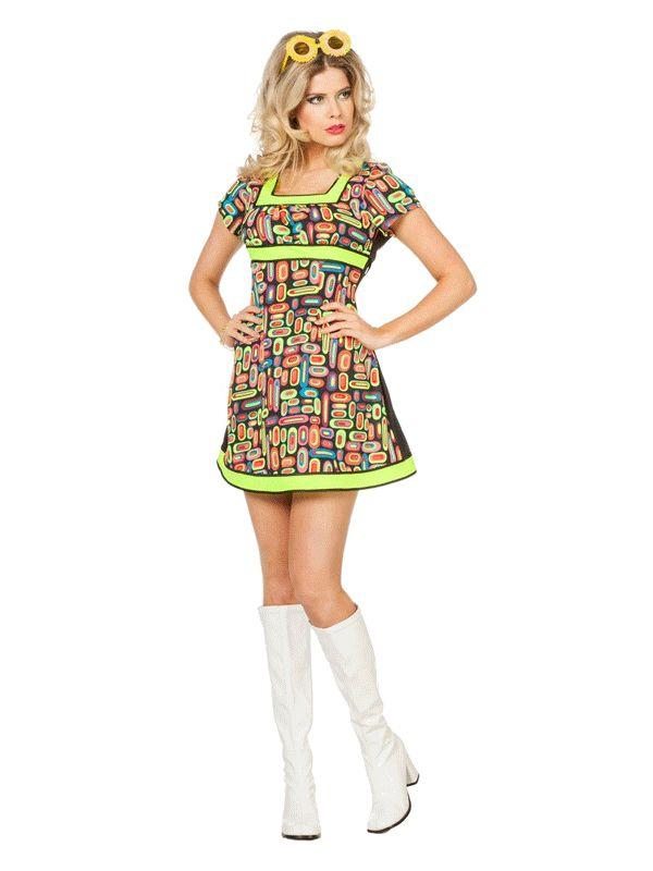 Neon kleding bij warenhuis Trendmax, Gekleurde jaren tachtig jurk voor dames,80,80s,a,bright,color,colored,colour,coloured,dress,dresses,eighties,felgekleurd