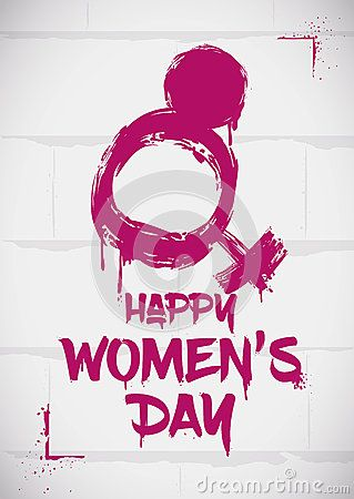 Stencil with woman symbol and number eight mixed for Women's Day, painted in white wall