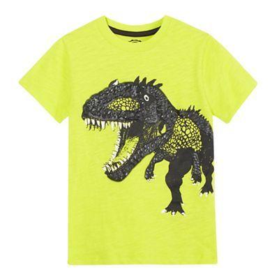 bluezoo Boys' yellow textured T-Rex t-shirt   Debenhams