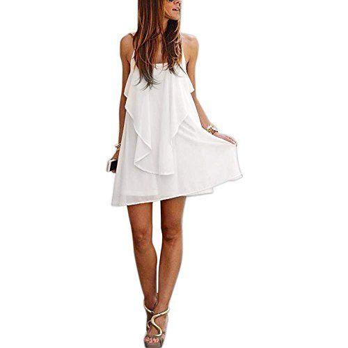 Zeagoo Sexy Damen Chiffonkleider weiße Lässig Minikleid elegante Partykleider Sommerkleider