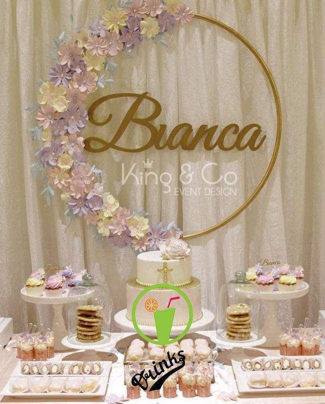 The Hulahoop With Name And Faux Flowers Diy Decorating In 2019 Pinterest Baby Shower Birt Birthday Decorations Birthday Parties Diy Birthday Decorations