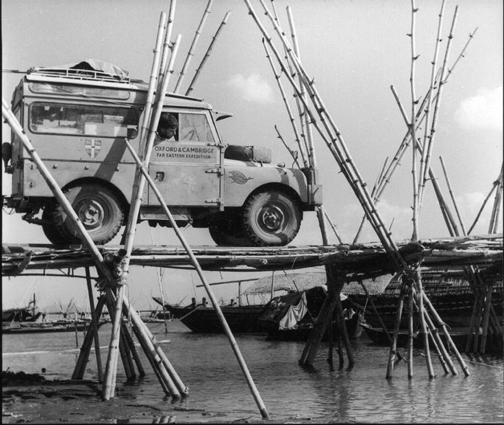 Series 1 Land Rover in the Brahmaputra Jettys, for the 1955 Oxford Cambridge Far East Overland Expedition.