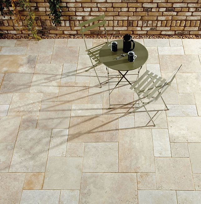 Cream Travertine Flagstones | Landscaping | Patio | Garden Path |  Contemporary Paving