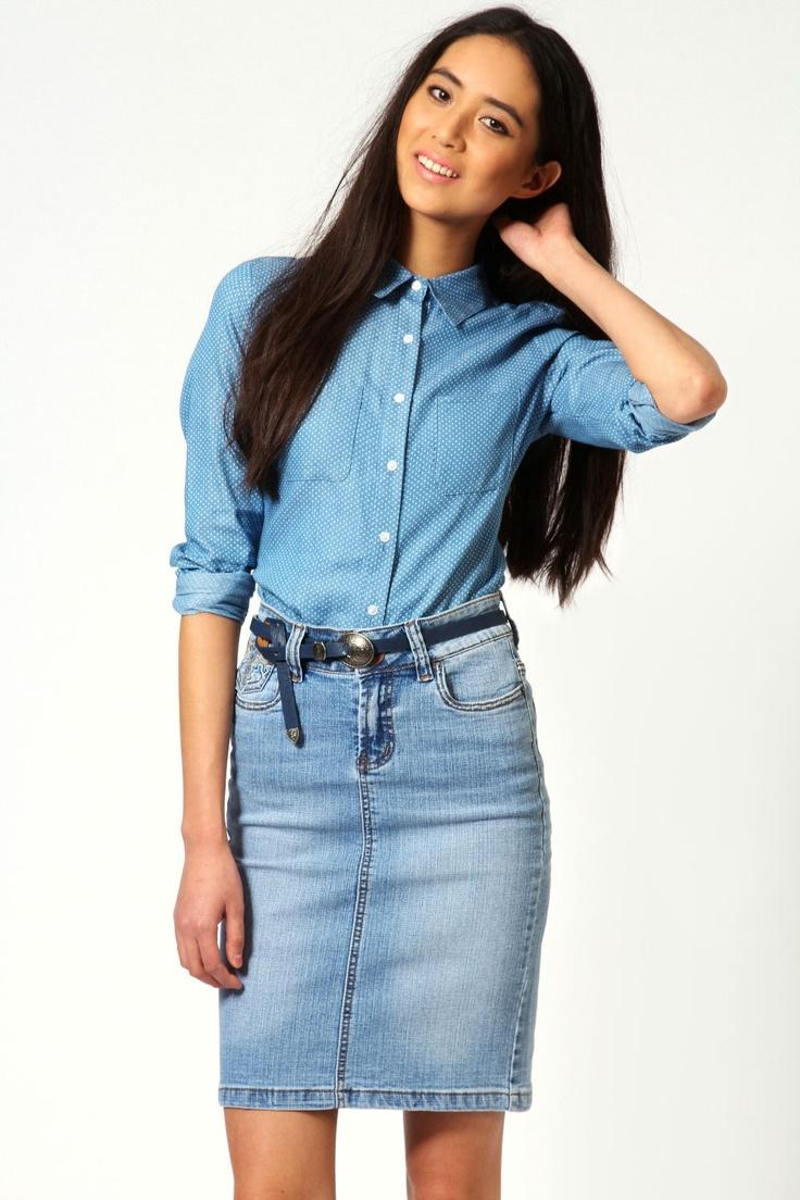 Ava Western Style Midi Denim Skirt #denimcraze #Boohoo #DenimDaze