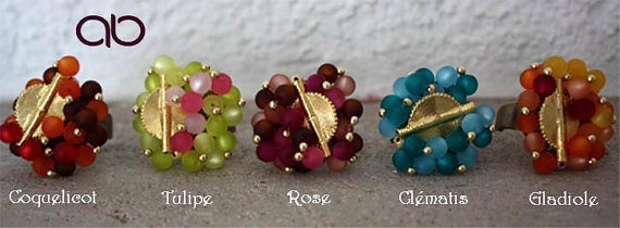 Aflé Bijoux Bague de Printemps - Coquelicot, Tulipe, Rose, Clématis, Gladiole - Polaris beads and akan goldweight