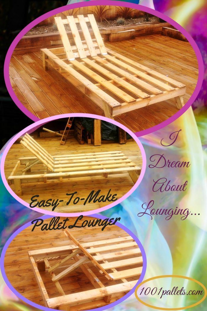I constructed this Pallet Sun Lounger from an oversized plaster board pallet, plus some scrap 2×4″ pieces to create the legs. Additionally, I used two hinges for the adjustable head rest. Enjoy your outdoor living areas and do some relaxing on a fast, fun Pallet Sun Lounger! First, I... #Garden, #OutdoorLiving, #PalletLounge, #RecyclingWoodPallets