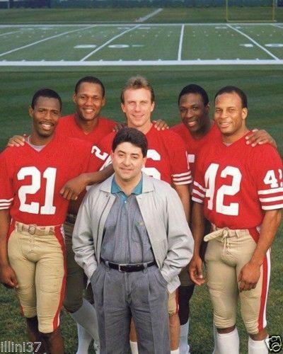 49ers/  Eric Wright, Michael Wilson, Joe Montana, Kenna Turner, Ronnie Lott, and Owner Eddie DeBartolo
