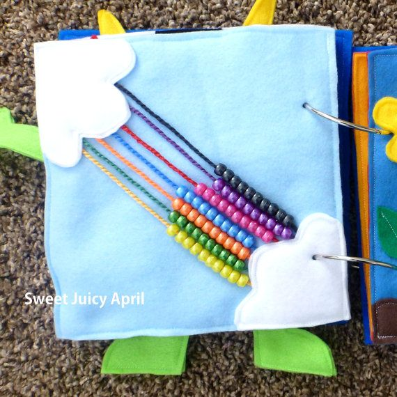 Rainbow Bead Quiet Book Page by SweetJuicyApril on Etsy