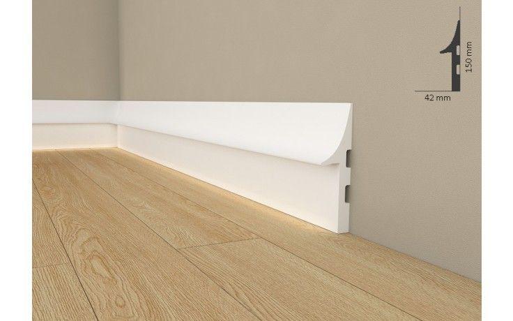 """Licht Fußleiste """"QL008"""" (Mardom Decor) - Sockelleiste für indirekte Beleuchtung ( aus hochfestem Polyurethan) inkl. Reflexionsklebeband"""