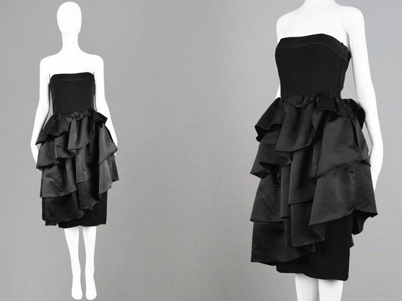 186580b5ca9 Vintage 80s LOUIS FERAUD Dress Tiered Skirt Ruffle Dress 1980s Party Dress  Black Prom Dress Velvet Party Dress Satin Dress Formal Evening