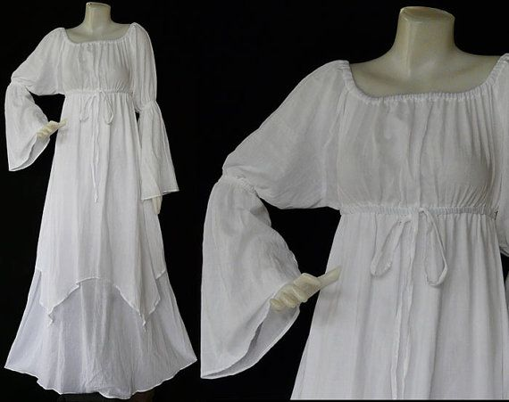 XS To 7X Handmade White Dress Hippie Bohemian Cotton Long