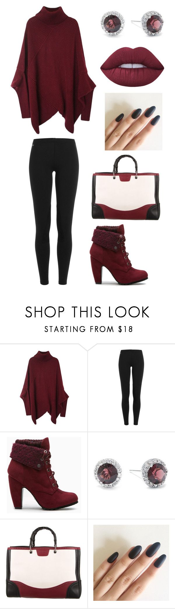 """Burgundy Black"" by alphashe on Polyvore featuring Polo Ralph Lauren, Belk Silverworks, Gucci and Lime Crime"
