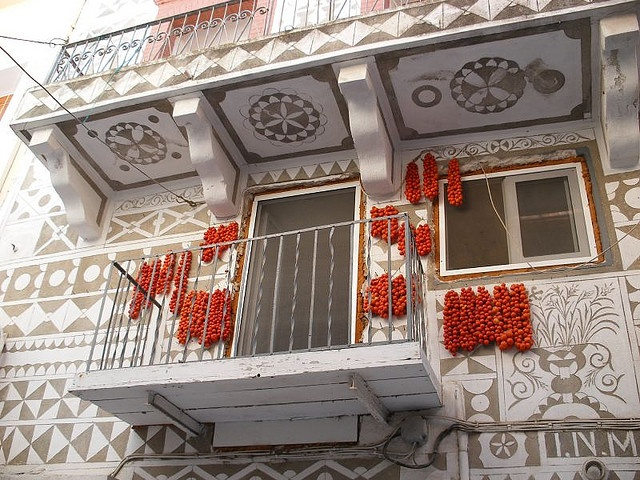 Sun drying tomatoes in Pyrgi Chios, Greece