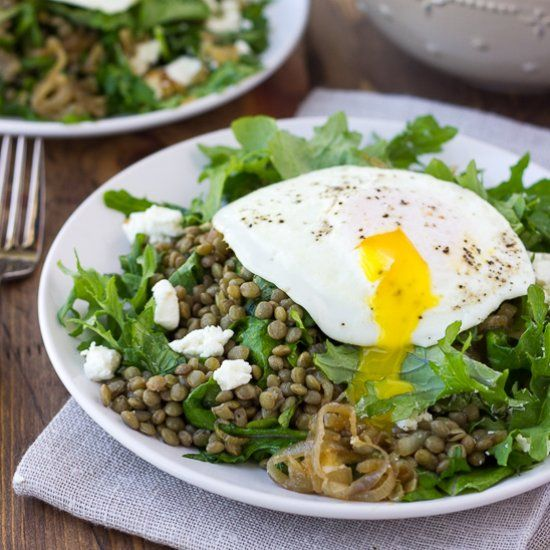 French Lentil Salad with Goat Cheese and Caramelized Shallots! A ...