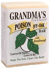 Wash with Grandma's Poison Ivy & Oak Bar before going into a wooded area or after you've come in contact with poison ivy or poison oak.