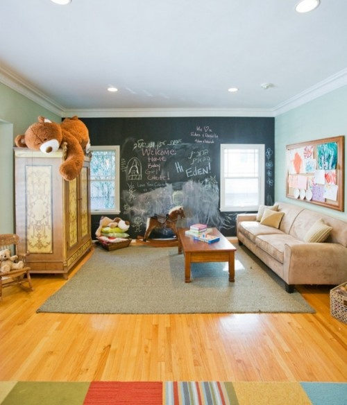 Kid Playroom with chalkboard wall