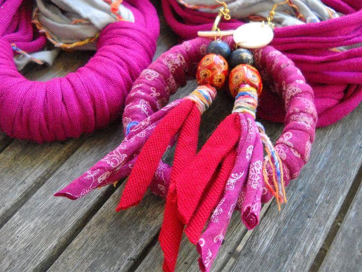 textile waste earrings Queen of Trash by MissEightiesHandmade on Etsy
