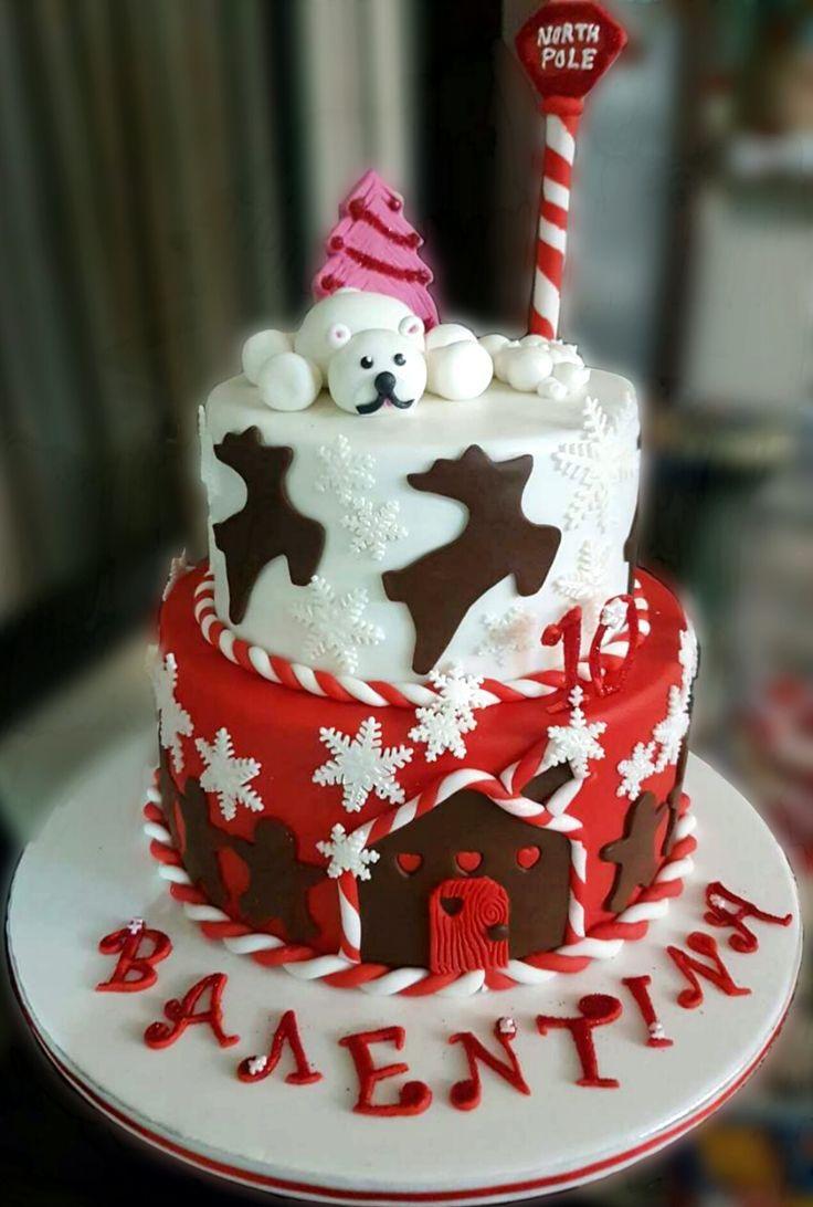 Christmas themed fondant cake Custom Homemade Cakes
