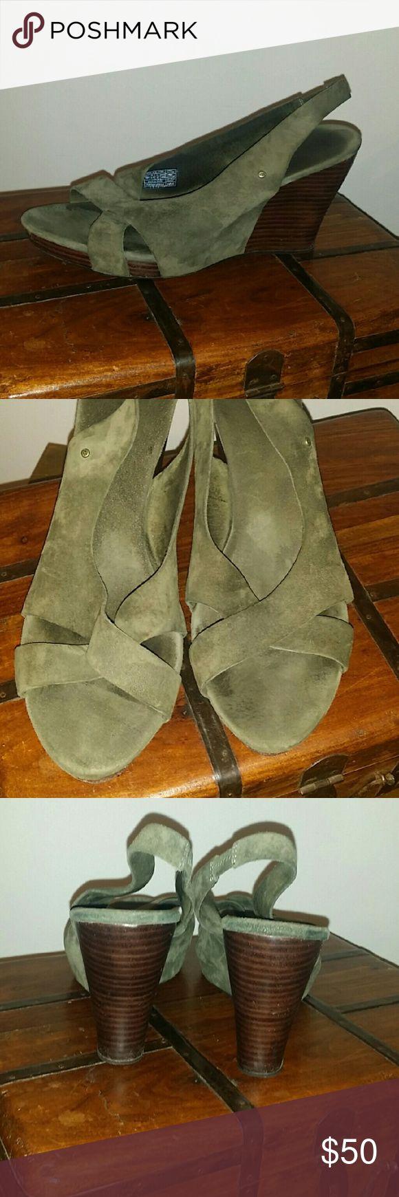 Suede UGG Sandal Comfortable wedge in a olive green. Nice wooden heel. Brass Ugg detailing. EUC . UGG Shoes Wedges