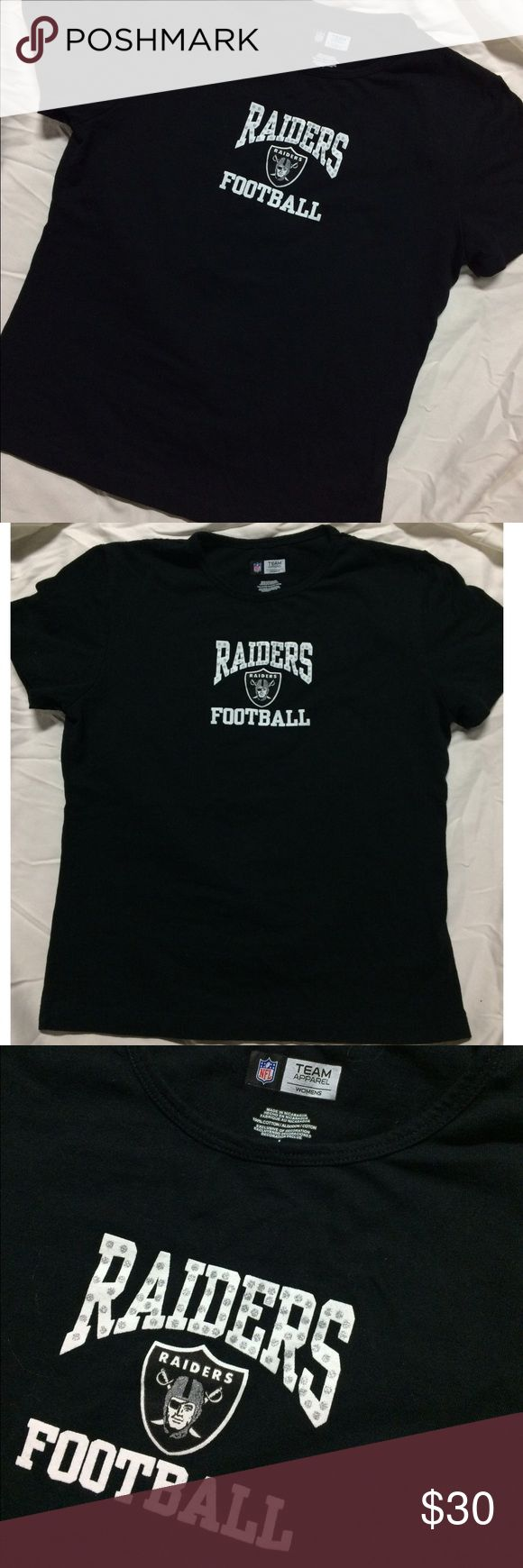 Raiders Football Women's Sports Apparel Size large, fits medium as well. Authentic NFL brand. Raiders football team. Black with sparkly bedazzled glitter logo. FREE SURPRISE GIFT WITH EVERY ORDER! NFL Tops Tees - Short Sleeve