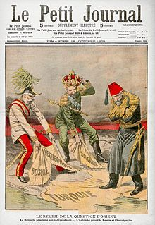 Cover of the French periodical Le Petit Journal on the Bosnian Crisis: Prince Ferdinand of Bulgaria declares independence and is proclaimed Tsar, and the Austrian Emperor Franz Joseph annexes Bosnia and Herzegovina, while the Ottoman Sultan Abdul Hamid II looks on.