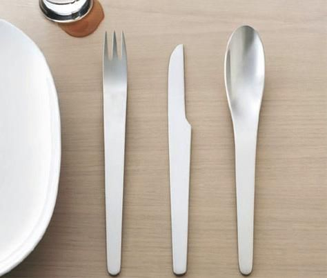 Architect-Designed Flatware. Shown here is a brushed-stainless line designed by Arne Jacobsen.