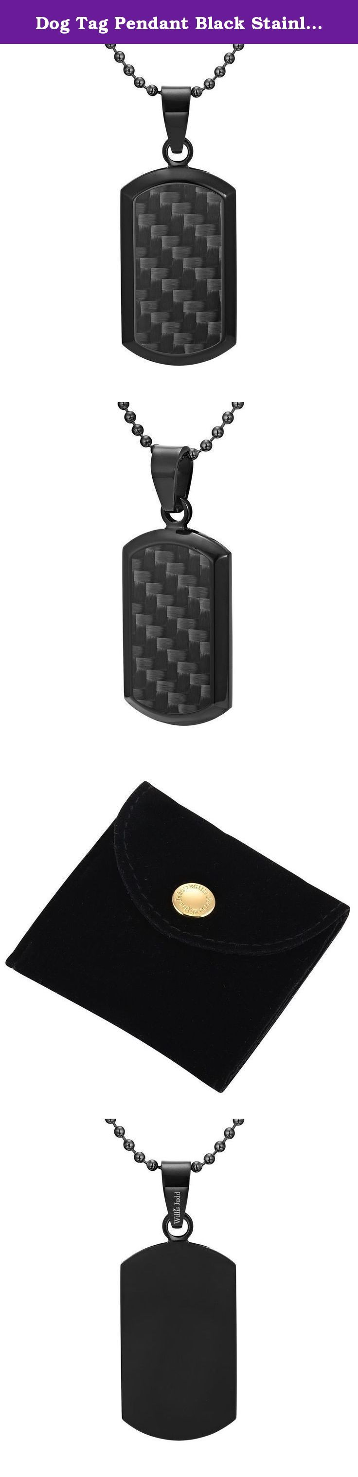Dog Tag Pendant Black Stainless Steel and Black Carbon Fiber with Necklace & Gift Pouch By Willis Judd. From the Willis Judd Carbon collection is this black stainless steel pendant that features a carbon fiber inlay. As seen in the picture, the black stainless steel really complements the carbon fiber and creates an effect that will definitely stand out in a crowd and make ones outfit complete. What's more is that it is complete with a stainless steel ball chain - so it's ready to wear! -...