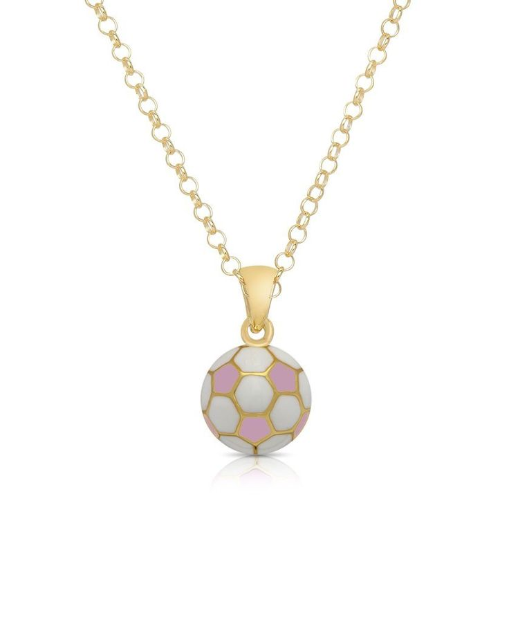 Lily Nily Soccer Ball Pendant Necklace - Pink