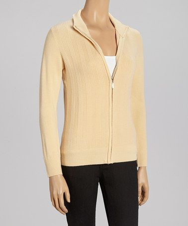 Take a look at this Beige Zip-Up Mock Neck Sweater - Women by SR Fashions on #zulily today!