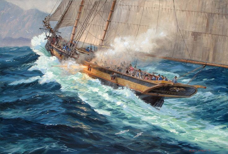 USS Enterprise in the Mediterranean, Barbary Wars by Patrick O'Brien. A U.S. Navy topsail-schooner built in Baltimore in 1799. She carried 12 guns. She is shown here in 1801 during her service in the First Barbary War.
