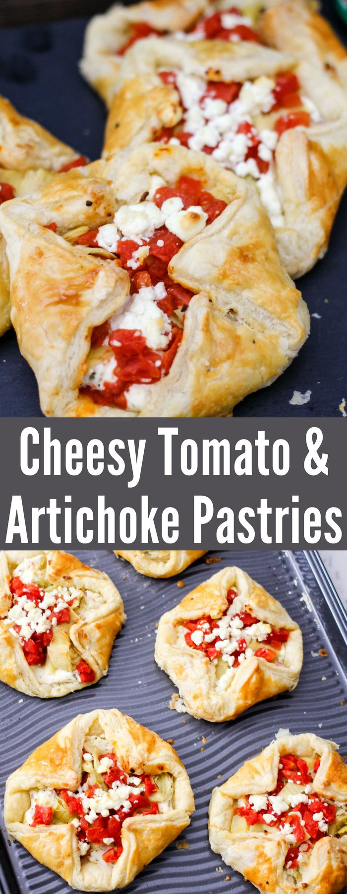 These savory pastries are filled with tomatoes, artichokes, cream cheese, and delicious goat cheese! Only a few minutes to whip up and you have tasty pastries! #ad @tuttorosso