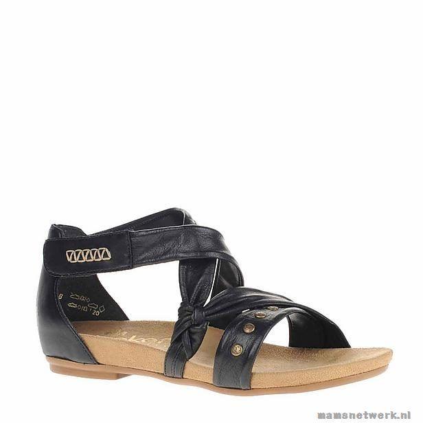 Rieker leren sandalen Dames Glad leer Platte zool pZqc2B Laag (0 - 2,5 cm) Zwart