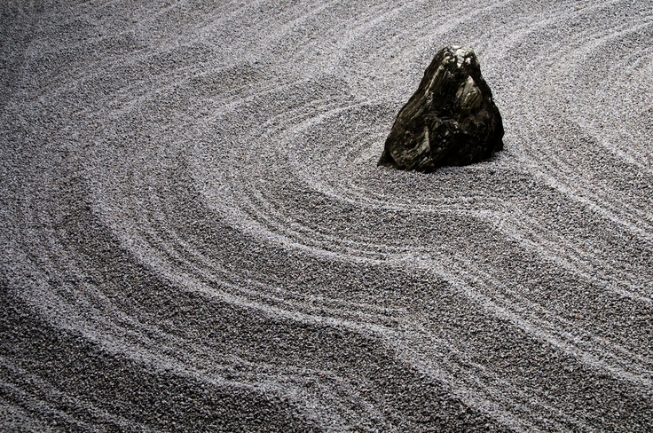Zuiho-In, Kyoto, Japan - rock, sand and gravel are an essental feature of the Japanese garden.