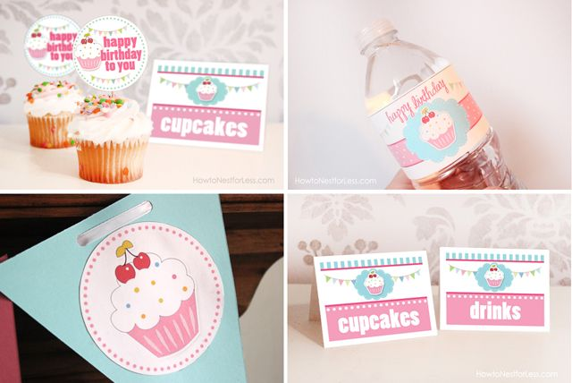 Cupcake birthday party FREE printables, including birthday banner, water bottle labels, food cards, cupcake toppers and invitation